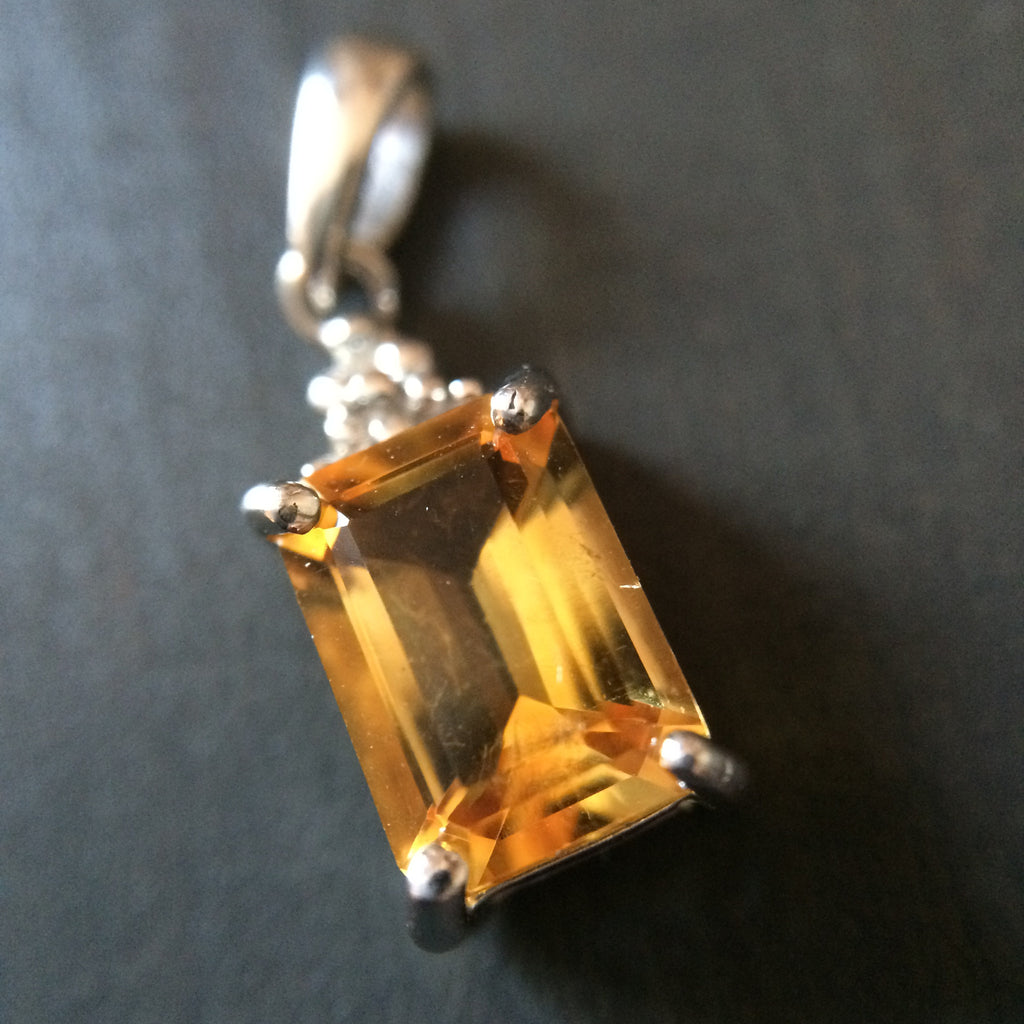 Sterling Silver Citrine and Diamond Pendant - LittleGemsUSA - 1