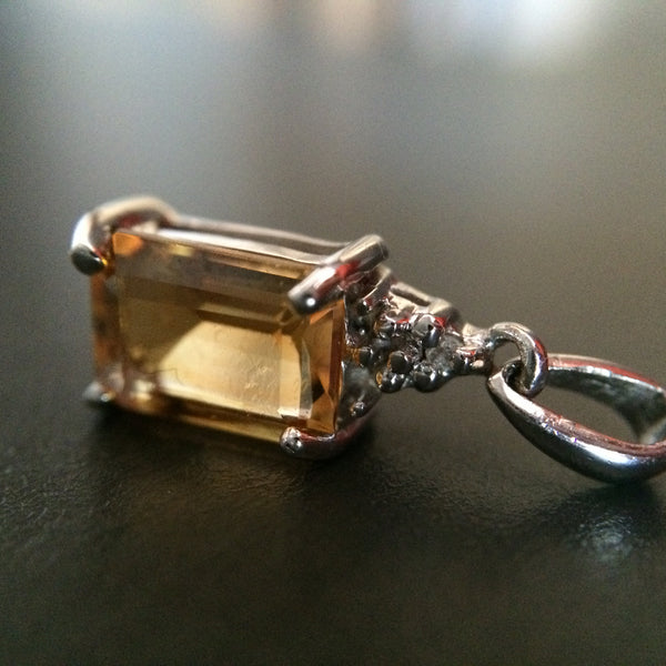 Sterling Silver Citrine and Diamond Pendant - LittleGemsUSA - 3