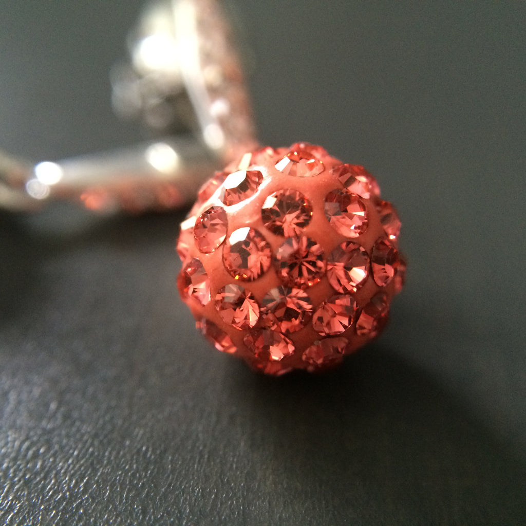 Coral Crystal Pave Dangle Earrings - LittleGemsUSA - 1