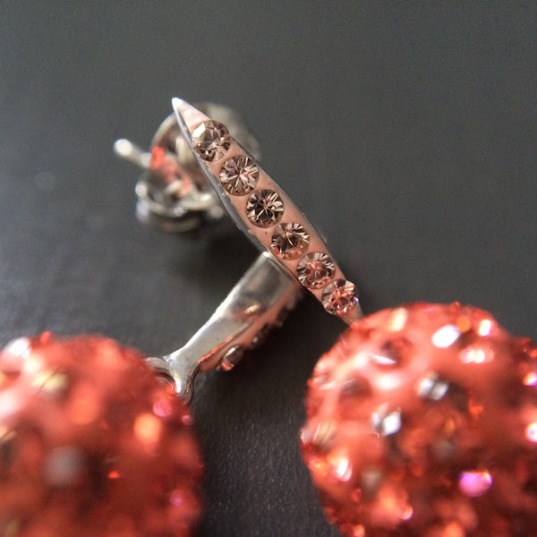 Coral Crystal Pave Dangle Earrings - LittleGemsUSA - 2