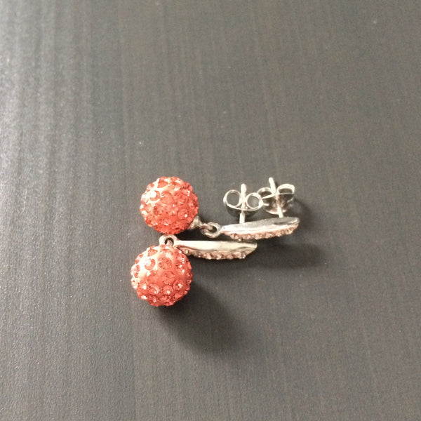 Coral Crystal Pave Dangle Earrings - LittleGemsUSA - 3