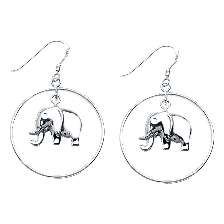 p silver earrings elephant sitting sterling