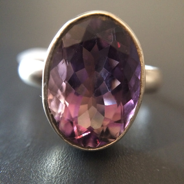 Large Oval Amethyst Ring - Size 10 - LittleGemsUSA - 2