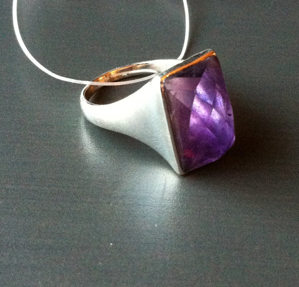 Large Faceted Amethyst Sterling Ring - LittleGemsUSA - 2