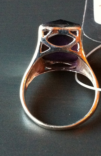 Large Faceted Amethyst Sterling Ring - LittleGemsUSA - 3