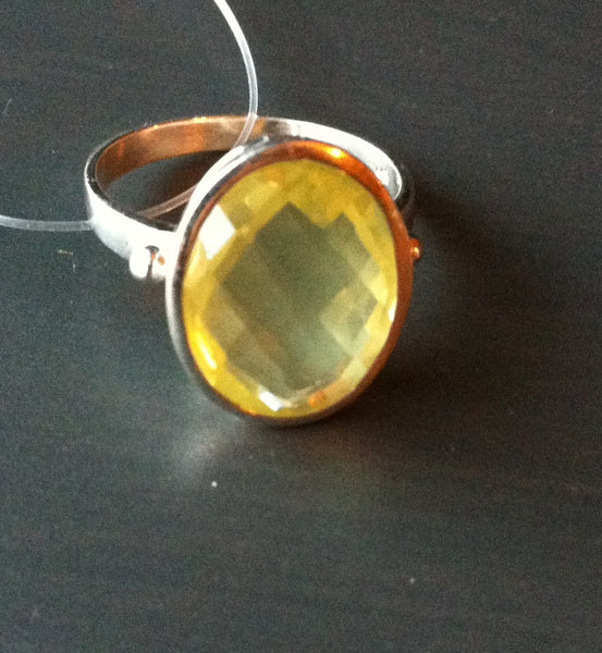 Large Faceted Lemon Quartz Ring - LittleGemsUSA - 3