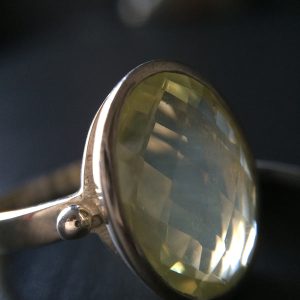 Large Faceted Lemon Quartz Ring - LittleGemsUSA - 1