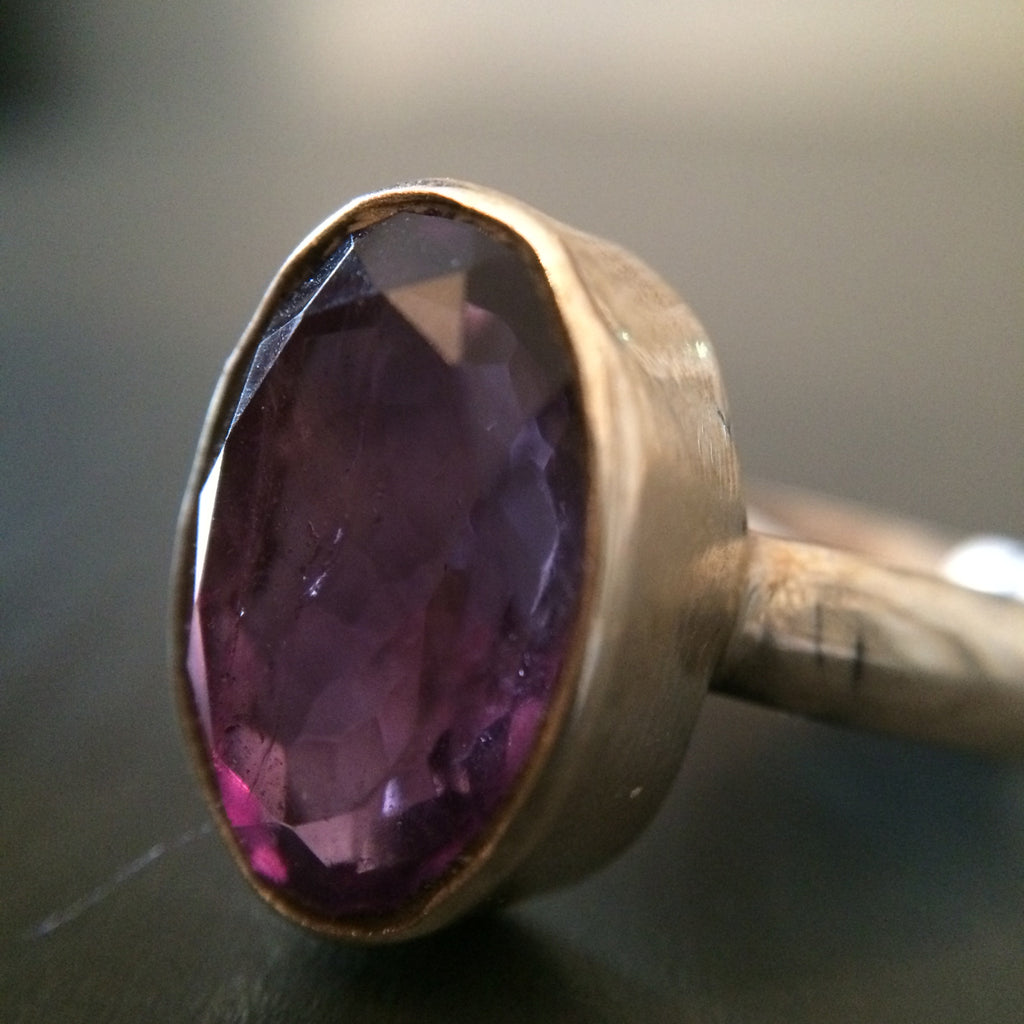 Large Oval Amethyst Ring - Size 10 - LittleGemsUSA - 1