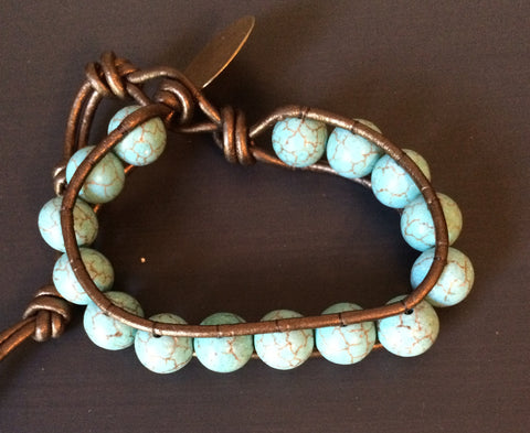 Leather Wrap Bracelet - Robin's Egg - LittleGemsUSA - 1
