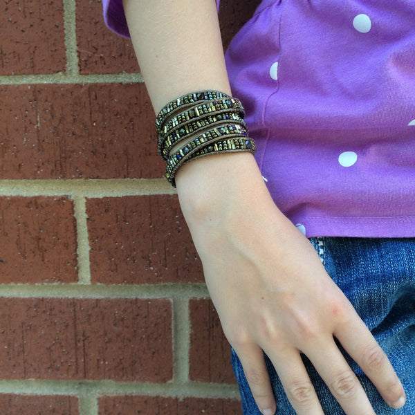 Elephant Leather Wrap Bracelet - Chocolate! or Coffee! - LittleGemsUSA - 2