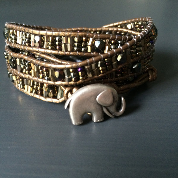 Elephant Leather Wrap Bracelet - Chocolate! or Coffee! - LittleGemsUSA - 1