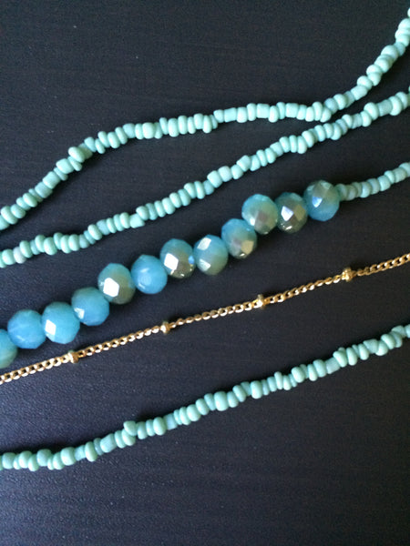 Long Delicate Blue Multi Strand Necklace - LittleGemsUSA - 2