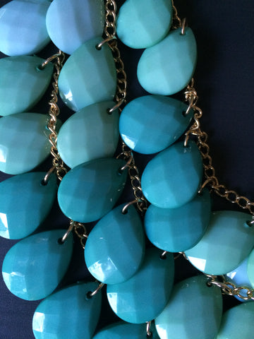 Mint Ombre Statement Necklace - LittleGemsUSA - 1