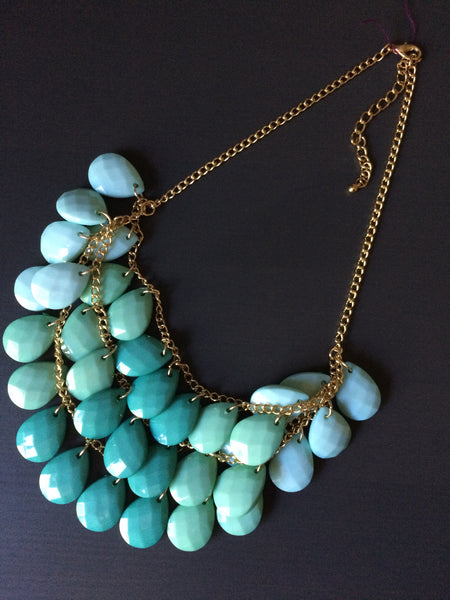 Mint Ombre Statement Necklace - LittleGemsUSA - 2