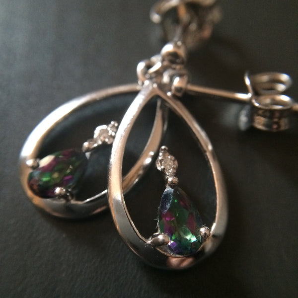 Mystic Topaz Dangle Loop Earrings - LittleGemsUSA - 1