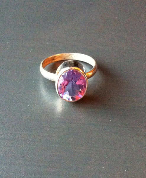 Purple & Pink Stone Ring -  Size 9 - LittleGemsUSA - 2
