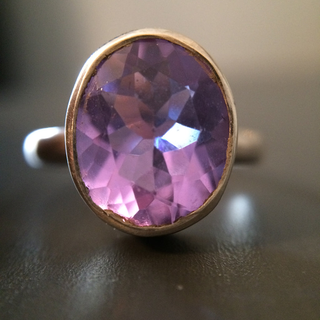 Purple & Pink Stone Ring -  Size 9 - LittleGemsUSA - 1