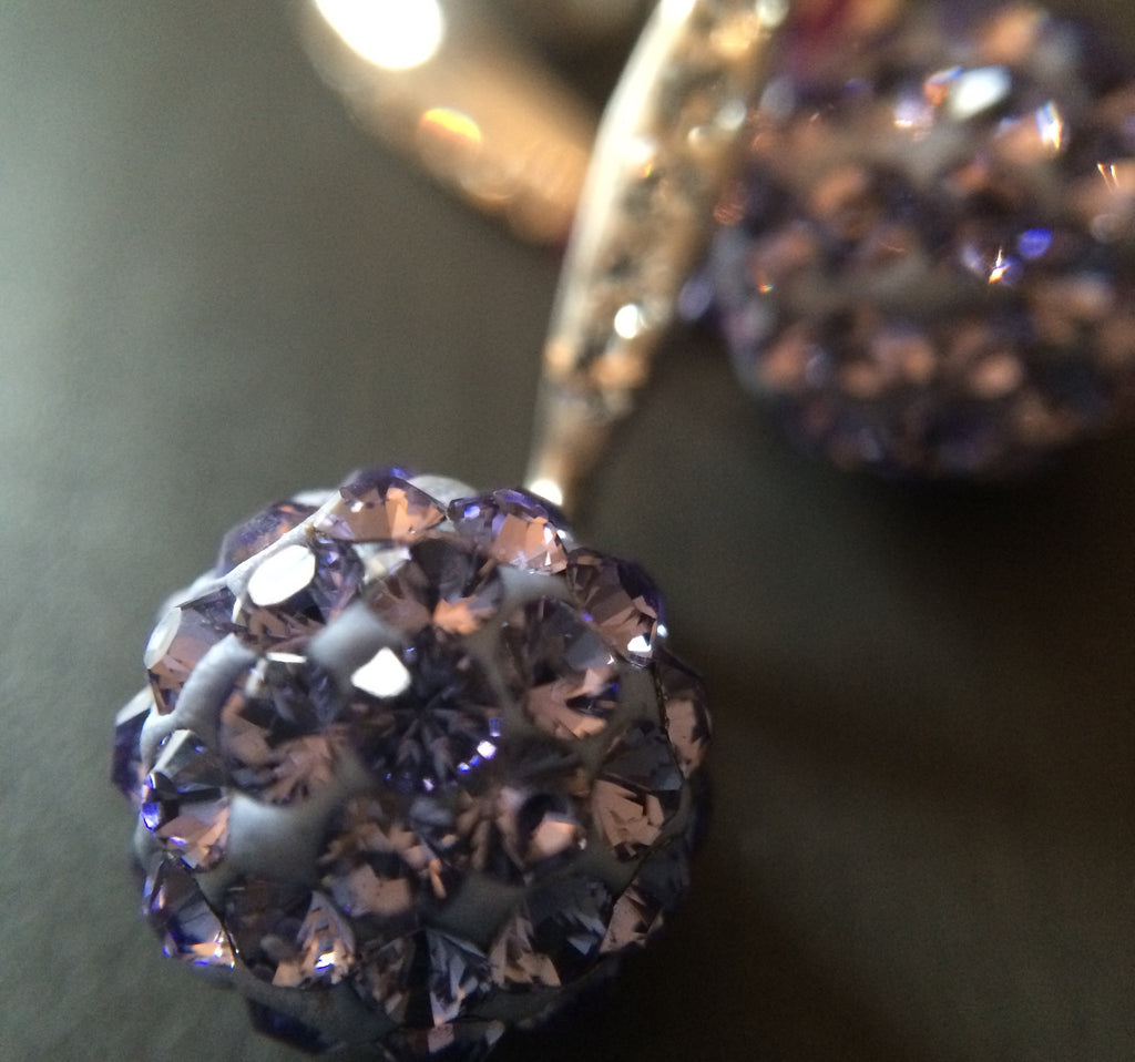Purple Pave Crystal  Drop Earrings - LittleGemsUSA - 1