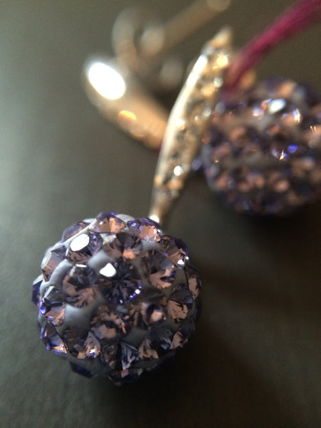 Purple Pave Crystal  Drop Earrings - LittleGemsUSA - 2