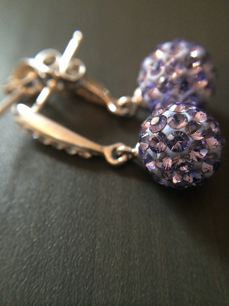 Purple Pave Crystal  Drop Earrings - LittleGemsUSA - 3