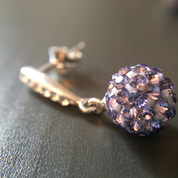 Purple Pave Crystal  Drop Earrings - LittleGemsUSA - 4