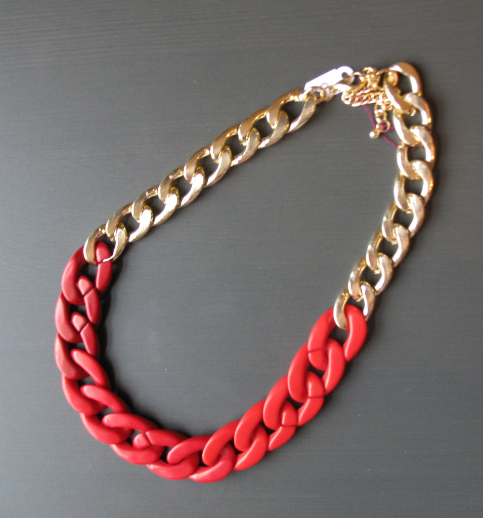 Red Chain Statement Necklace - LittleGemsUSA - 1