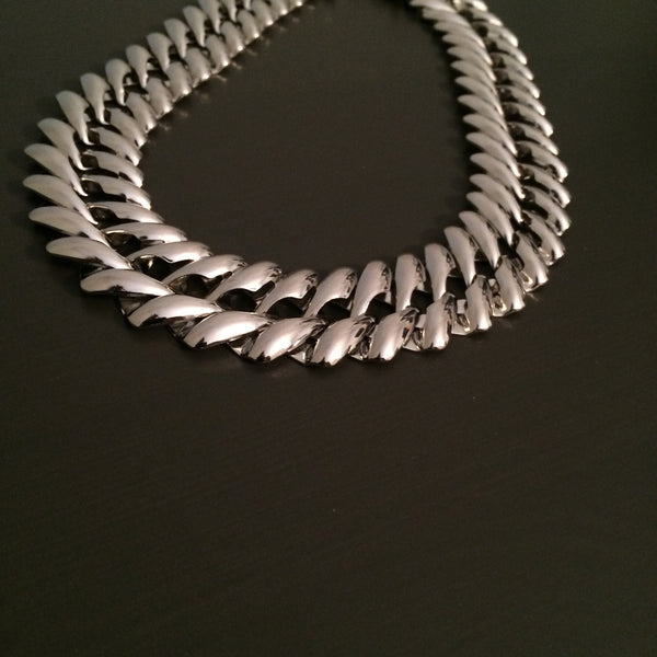Silver Chain Statement Necklace - LittleGemsUSA - 2