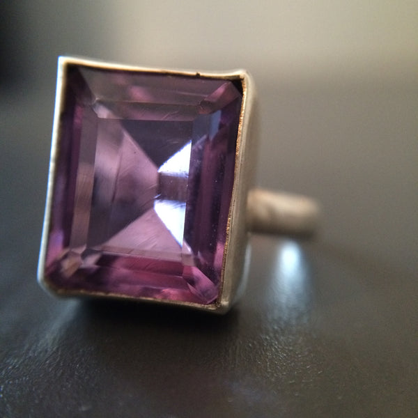 Square Amethyst Ring - Size 6.5 - LittleGemsUSA - 1
