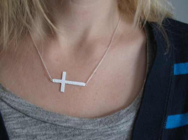 "Sterling Silver Cross Necklace - 18"" - LittleGemsUSA - 2"