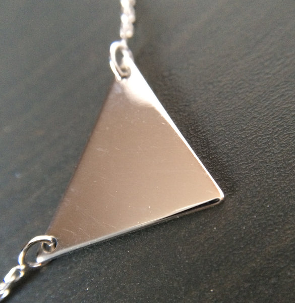 Sterling Silver Triangle Necklace - LittleGemsUSA - 1