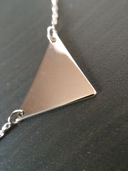 Sterling Silver Triangle Necklace - LittleGemsUSA - 2
