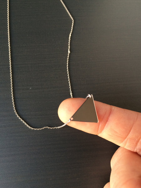 Sterling Silver Triangle Necklace - LittleGemsUSA - 4