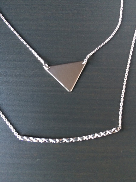 Sterling Silver Triangle Necklace - LittleGemsUSA - 5
