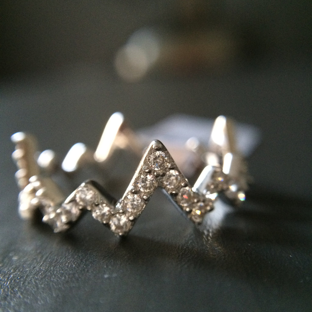 Sterling Silver Zig Zag Chevron Ring  - Multiple Sizes - LittleGemsUSA - 1