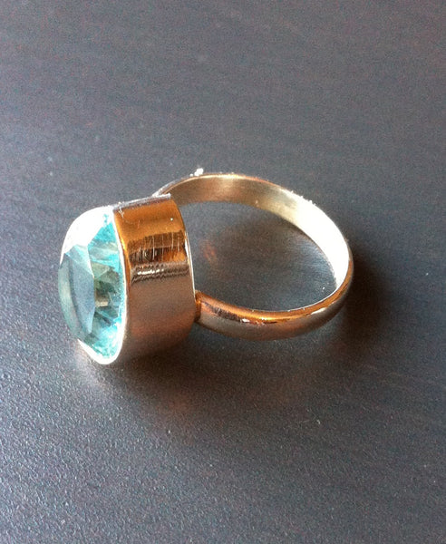Tear Shaped Blue Topaz Ring - Multiple sizes - LittleGemsUSA - 2