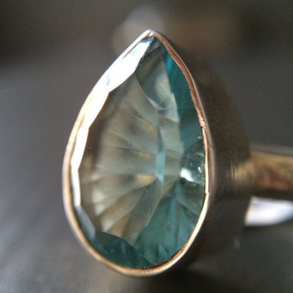 Tear Shaped Blue Topaz Ring - Multiple sizes - LittleGemsUSA - 1