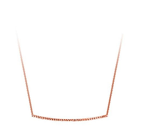Rose Colored Sterling Silver Diamond Cut Bar Necklace