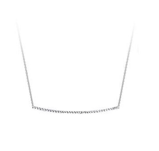 Sterling Silver Diamond Cut Bar Necklace