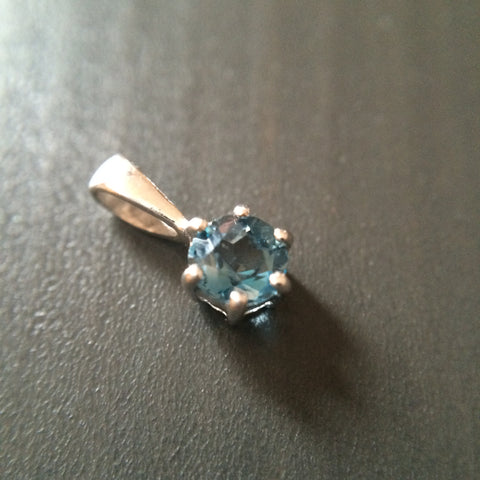 Tiny Blue Topaz Pendant - Prong set - LittleGemsUSA - 1