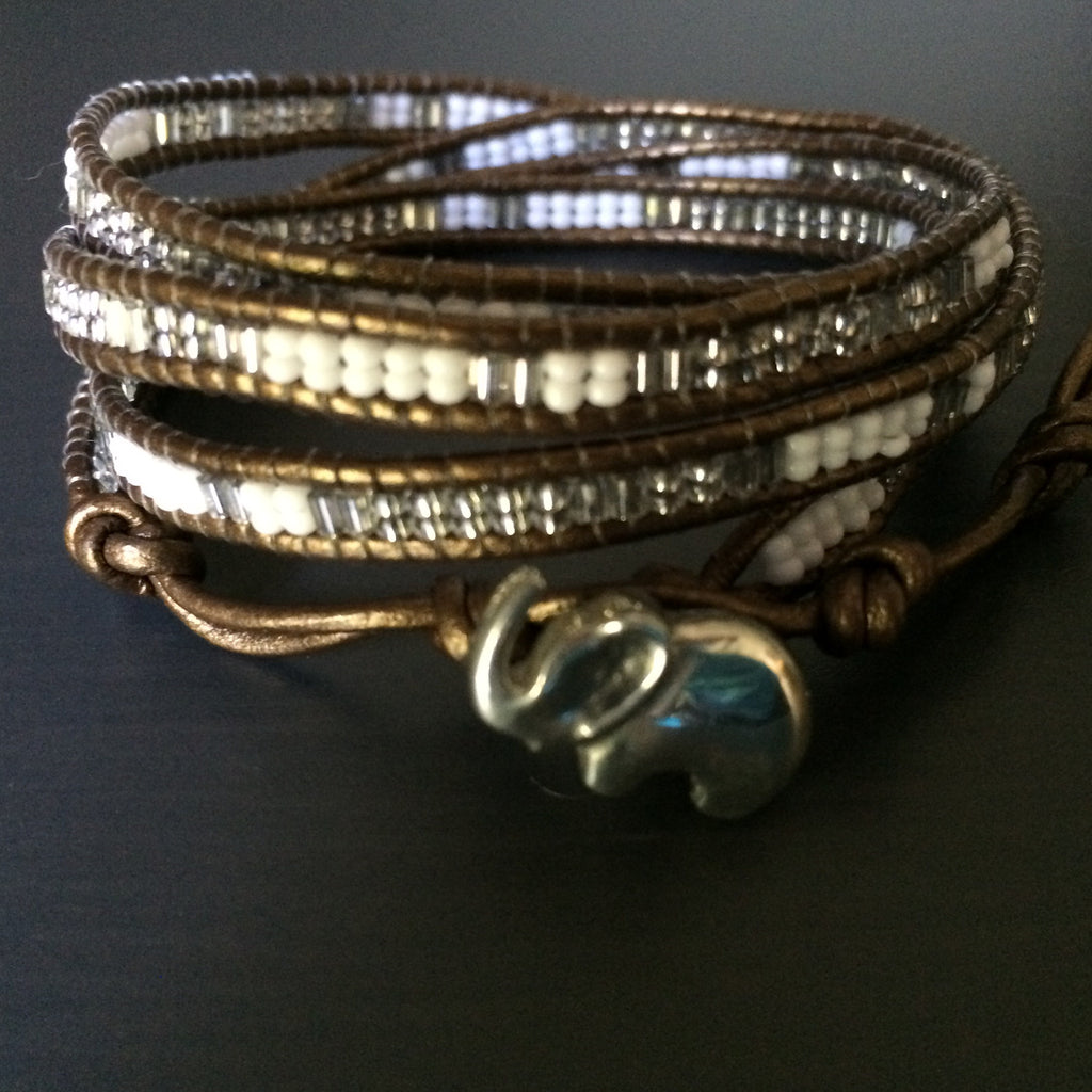 Baby Elephant Leather Wrap Bracelet - LittleGemsUSA - 1