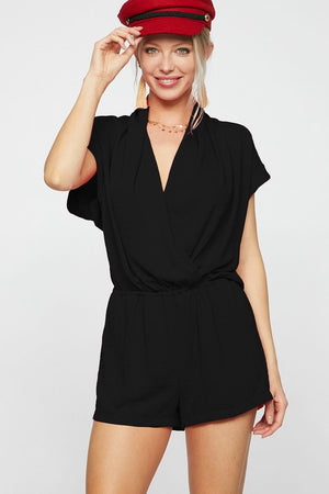 Short Sleeve Romper With Wrap Front - Comfy and Chic Boutique