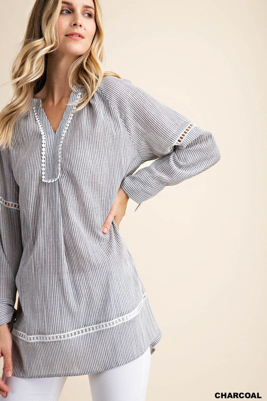 Charcoal Pin Striped Tunic - Comfy and Chic Boutique