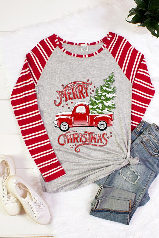 The Merry Christmas Truck tee - Comfy and Chic Boutique