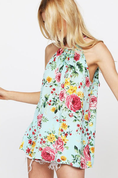 Floral Print Halter Top - Comfy and Chic Boutique