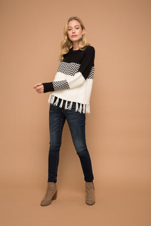 Black and White Fringe Bottom Sweater - Comfy and Chic Boutique