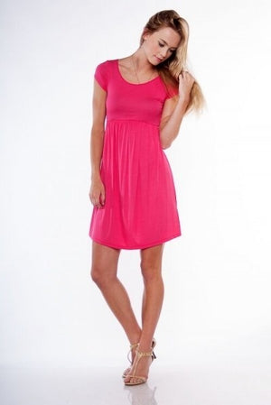 The Perfect spring dress in Blue and Fuchsia- Small Only - Comfy and Chic Boutique