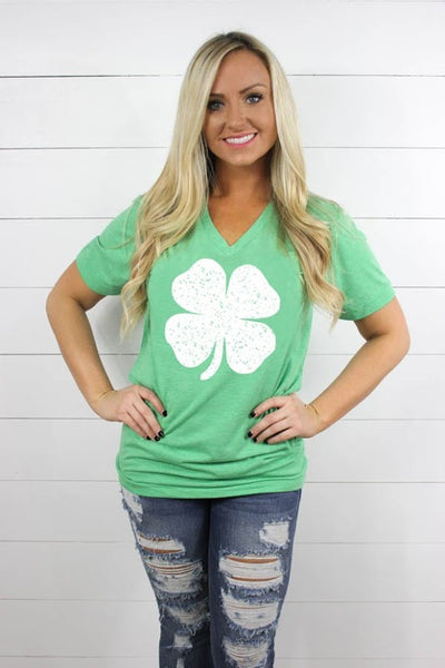 St. Patty's Day Green w/ white Shamrock V Neck - Comfy and Chic Boutique