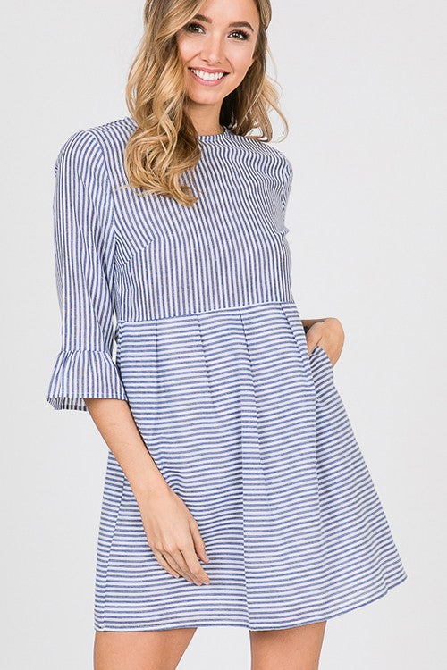 The Blue Striped Dress with Pockets - Comfy and Chic Boutique