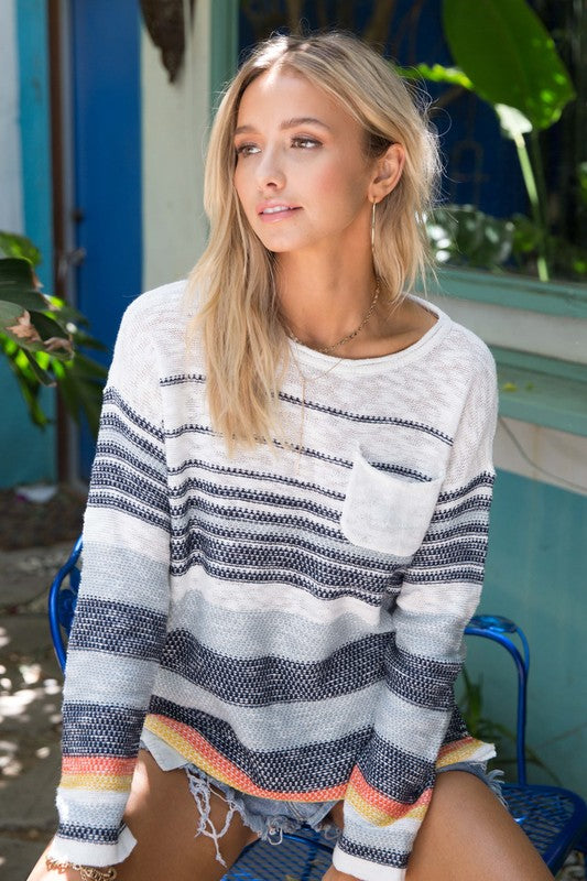 Multi Striped Pullover Sweater - Comfy and Chic Boutique