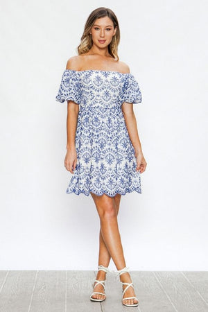 Off The Shoulder Eyelet Dress - Comfy and Chic Boutique